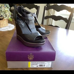 Fergie leather t-strap wedge sandals